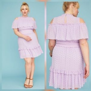 Lane Bryant Purple Eyelet Lace Cold Shoulder Dress